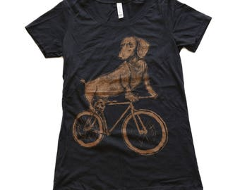 Dachshund on a Bike Womens Tee, Ladies Tee, Tri Blend Tee, Handmade graphic tee, sizes S-XXL