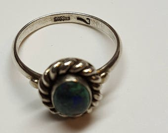 Ring BLUE Lapis Lazuli  December Gemstone Ring 925 Fas Sterling Silver signed from 1970's Size 7 Promise Ring Blue