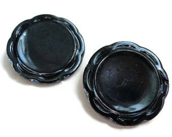 Large Antique Glass Flower Buttons Black with Blue Luster - 1 3/8 inch 34mm for Coat Jewelry Supplies Beads Sewing Knitting