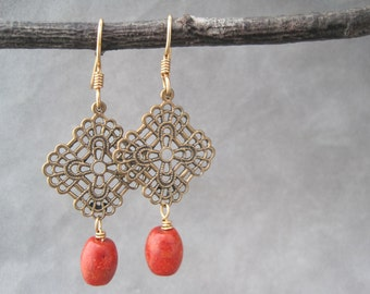 Bronze and Red Coral Earrings - Filigree - Vintage Inspired Detail - Red Coral