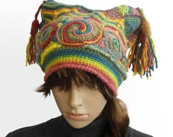 Freeform Crochet Beanie, Harlequin, Jester Hat Women's Freeform Crochet Multi colour Rainbow OOAK crochet hat with Tassels