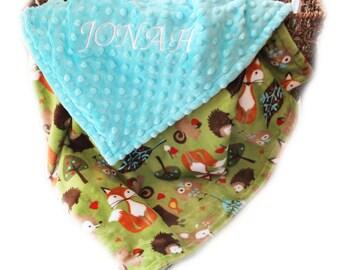 Woodland Minky Baby Blanket Boy , Fox Blanket, Personalized Blanket, Baby Gift, Baby Boy, Name Blanket, Baby shower gift, Receiving Blanket