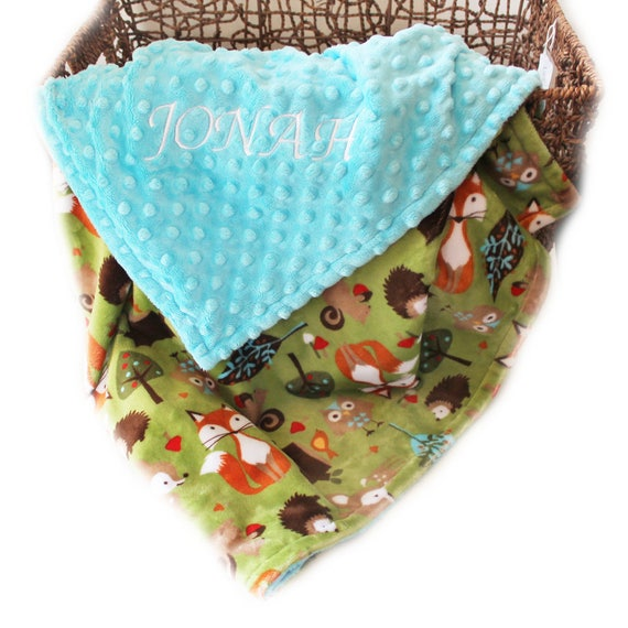 Woodland Minky Baby Blanket / Fox Blanket,  Personalized Blanket, Baby Gift, Baby Boy, Name Blanket, Baby shower gift / Receiving Blanket