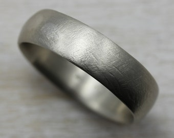 READY TO SHIP 6mm Rustic Hand-carved Classic Men's Wedding Band; 10k White Gold; Size 10.5 - Eco-Friendly Minimal Simple Band