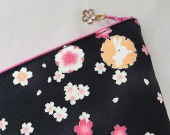 Sakura & Bunny Zipper Pouch/ Cosmetic Purse - Charcoal