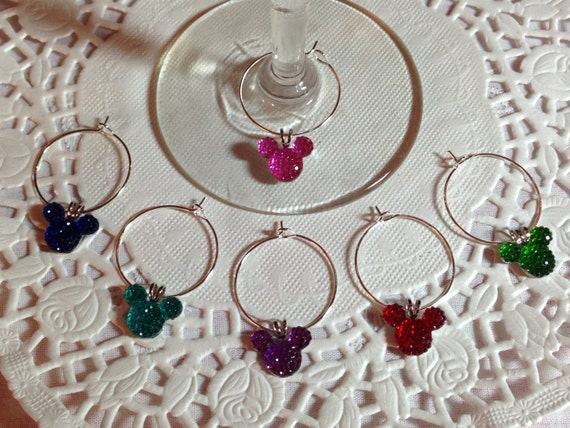 Hidden Mickey Mouse Ears-Wine Charms-Jewel or Pastel Colors Home Barware-Shower Gift