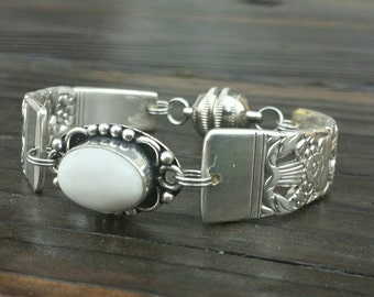 Lovely Antique Spoon Bracelet Made With White Jade