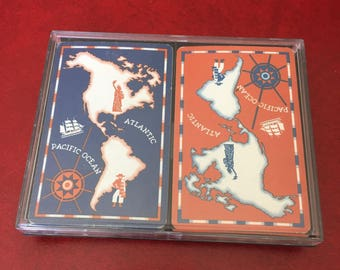 Vintage Hoyle Map Playing Cards, North & South America - Double Deck with Storage Case