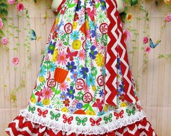 Girls Dress 5/6 Pink, Red, Yellow, Blue Flower Pillowcase Dress, Pillow Case Dress, Sundress, Boutique Dress