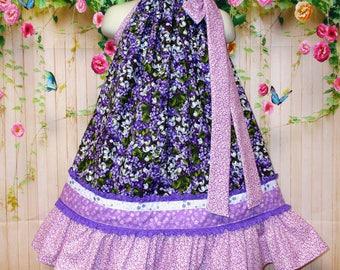 Girls Dress Size 3T/4T Purple White Crocus Floral Springtime Boutique Pillowcase dress, Pillow Case Dress, Sundress.