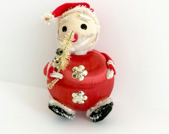 Vintage Santa Claus Figurine Christmas Decoration Wrapped Silk Ornament Red Satin Ball