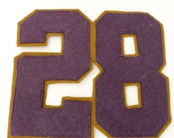 Vintage Patch Felt Fabric Number 28 Letter Sweater Old School