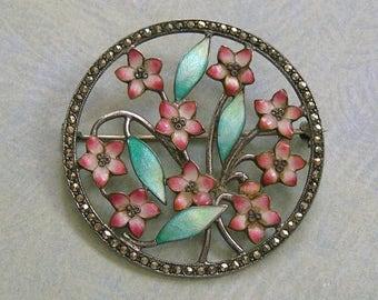 Antique Sterling Marcasite Enamel Brooch Pin, Old Sterling Enamel Pin, Sterling Marcasite Flower Pin (#3159)