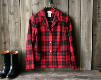 Womens Wool Jacket White Stag Plaid Jacket Red and Black Vintage From Nowvintage on Etsy