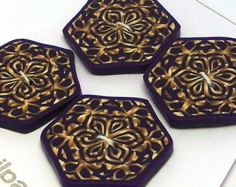 Large Hexagonal Buttons Purple and Bronze Handmade Polymer Clay 30mm