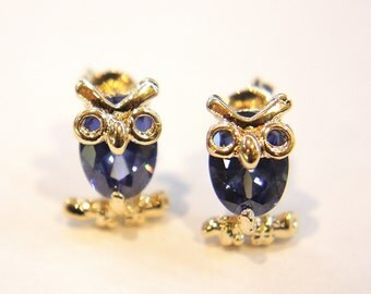 Blue topaz  Cubic Zirconia CZ crystal Cute Owl Gold Plated Earrings Stud post  U1/3