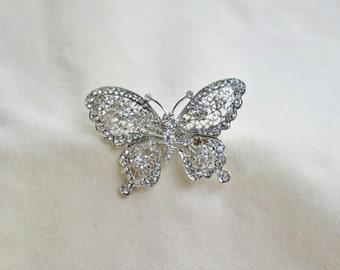 Butterfly Rhinestone Silver Barrette Hair Clip / Bridal Rhinestone Butterfly Hair Clip /  Vintage Inspired Butterfly Hair Clip