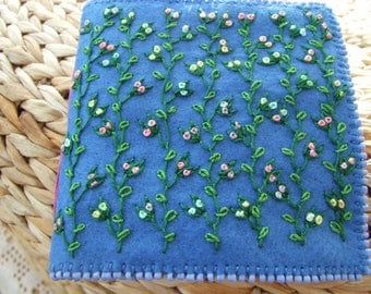 Large Blue Felt Hand Embroidered Needle Case
