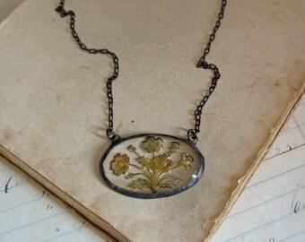 Glass Reverse Painted Flower Bouquet Bib Necklace Unique Jewelry