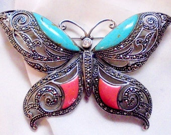 Large Sterling Silver, Turquoise,Coral and Marcasite, Southwestern Butterfly Pin