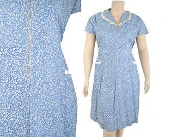 "30s day dress / RARE NWT end of day dress / 1930s blue floral house dress / dust bowl dress .. 40"" waist"