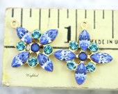 Petite Starburst Flower Pendant Vintage Swarovski Crystal Brass Setting Light Sapphire Aqua & Sky Blue Opal 20x23mm - 2