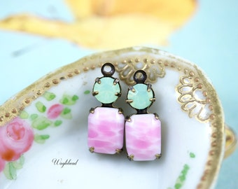 Pink White Marble & Chrysolite Opal Connector Vintage Octagon Stone Swarovski Crystal Set Stone Brass Settings 16x6mm Earring Drops - 2
