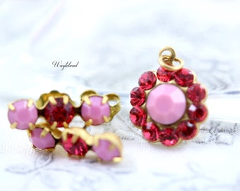 Triple Rhinestone Earring Studs Swarovski Crystal Ear Posts Set Stones Charm Pendant Set Opaque Pink & Indian Pink