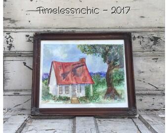 Watercolor Painting - Vintage Watercolor -  Landscape Painting - Antique Watercolor - Vintage Painting - Large Painting - Antique Painting -