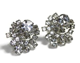 Clear Rhinestone Earrings Circular Dangle Clip On Vintage Bridal Wedding