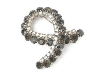 Black and Clear Rhinestone Brooch Looped Design Unusual Vintage