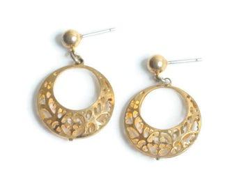 Gold Tone Filigree Hoop Earrings Posts Pierced Ears Vintage