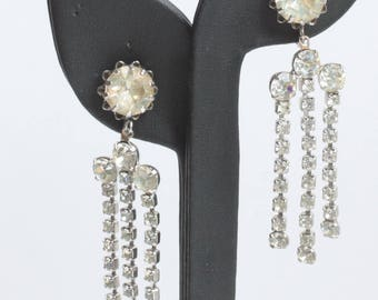 Crystal Rhinestone Dangle Earrings Three Strands Screw Back Vintage
