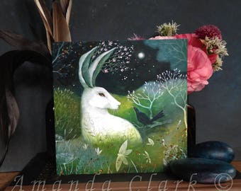 A single greeting card. Titled 'Jade and Moss'. Illustrations by Amanda Clark.