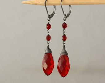 Garnet Red Earrings, Birthday Gift for Wife, Vintage Style, Oxidized Silver, Dark Red Garnet, Downton Abbey, Goth, for Sister, Trending Now