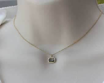 Black Diamond Quartz Glass, Spring Summer Trend, Birthday Gift for Wife, for Sister, For Mom, for Girlfriend, Dainty Gold Necklace, Gift