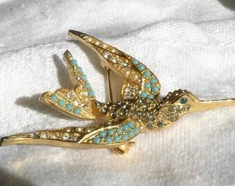 20% Sale Jewelry Vintage ART Bird Brooch Seed Pearls Rhinestones Turquoise Beautiful