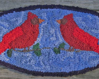 Pair of Cardinals Complete Primitive Rug Hooking Kit with cut wool strips or PATTERN ONLY