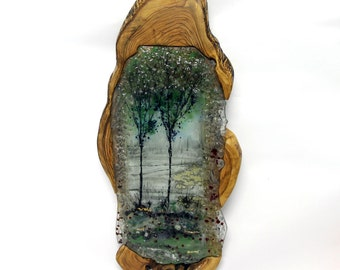 Painting on Glass  landscape fused glass painting  Fused glass art