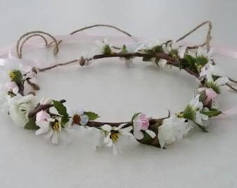 Bridal pale pink flower crown wedding hair wreath accessories little girls babies women headpiece flower girl halo Shabby Country Bride halo