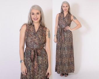 Vintage 70s Wrap DRESS / 1970s Silky Soft Ethnic Print Boho Maxi Dress