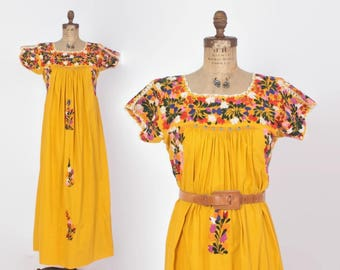 Vintage 70s OAXACAN DRESS / 1970s Embroidered Mustard Gold Boho MEXICAN Festival Maxi Dress