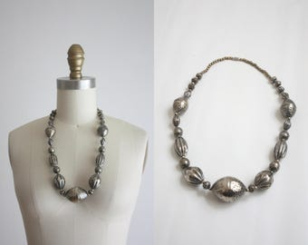 1970s pewter bead necklace