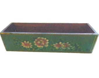 Folk Art Hand Painted Planter, Tole Painted Wooden Planter Box, Vintage Tole Planter