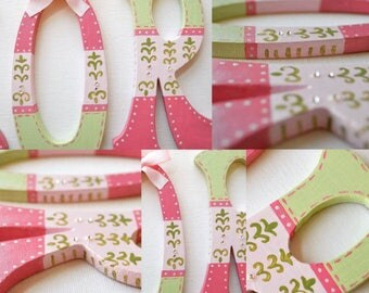 Hanging by Ribbon Personalized custom letter theme hand painted wood block girl nursery room name letters