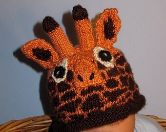50% OFF SALE Instant Digital File pdf download knitting pattern- Baby Giraffe Hat animal roll brim knitting pattern pdf download