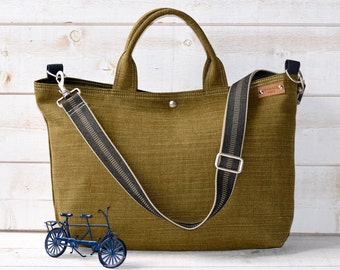 Green Linen tote bag, Carry all, Diaper bag, Messenger bag, Work bag, Leather strap , Travel bag, Zipper and 5 Pockets,Cross body