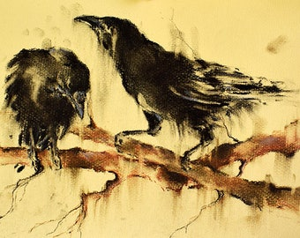 Crows on a Branch Original Charcoal Drawing 12x8""