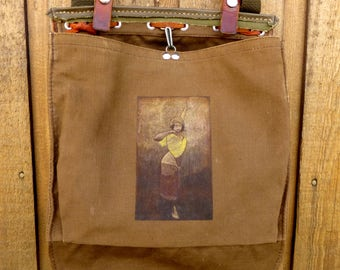 Vintage Canvas Army Handbag Purse - Gypsy Woman - Hand Painted