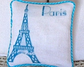 1:12 Pillow - Eiffel Tower Dollhouse Scale Miniature Turquoise French Shabby Cottage Chic  *Free Shipping*